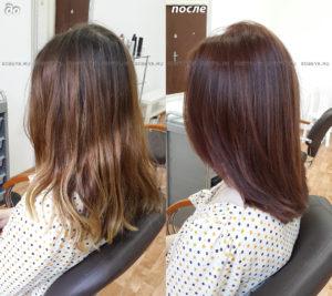 Стрижка на волосы средней длины. Окрашивание в коричневый цвет c медным оттенком.