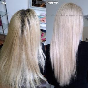 Окрашивание корней волос в очень светлый блонд