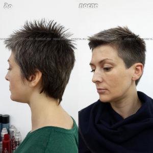 Короткая стрижка и окрашивание иней для коротких волос