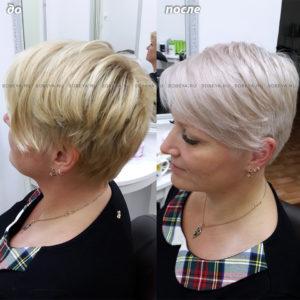 Окрашивание в холодный блонд. Коррекция стрижки.
