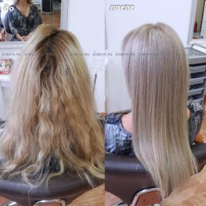 Окрашивание корней волос, желтый оттенок на длине тонировали в более холодный.