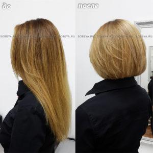 Короткая женская стрижка и окрашивание волос в светлый золотистый цвет.
