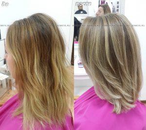 Балаяж — калифорнийское мелирование. Стрижка на волосы средней длины.