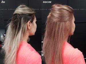 Окрашивание волос в клубничный блонд