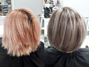 Растяжка цвета на волосы средней длины в холодных тонах