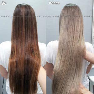 Процедура осветления волос по пояс может длится до семи часов