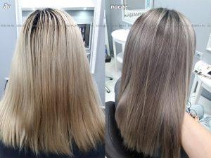 Окрашивание в холодный русый цвет с приданием глубокого тона корням волос