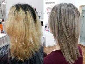 Окрашивание волос в русый пепельный цвет.