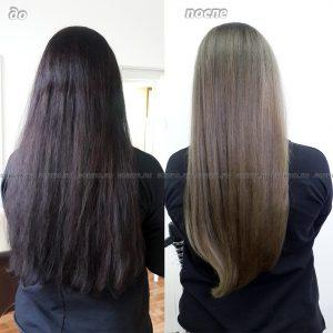 Выведение цвета волос из темного в русый.