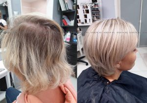 Блондирование вуальками и стрижка на короткие волосы.