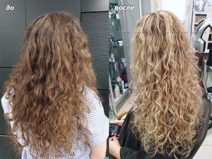 Балаяж на кудрявые длинные волосы