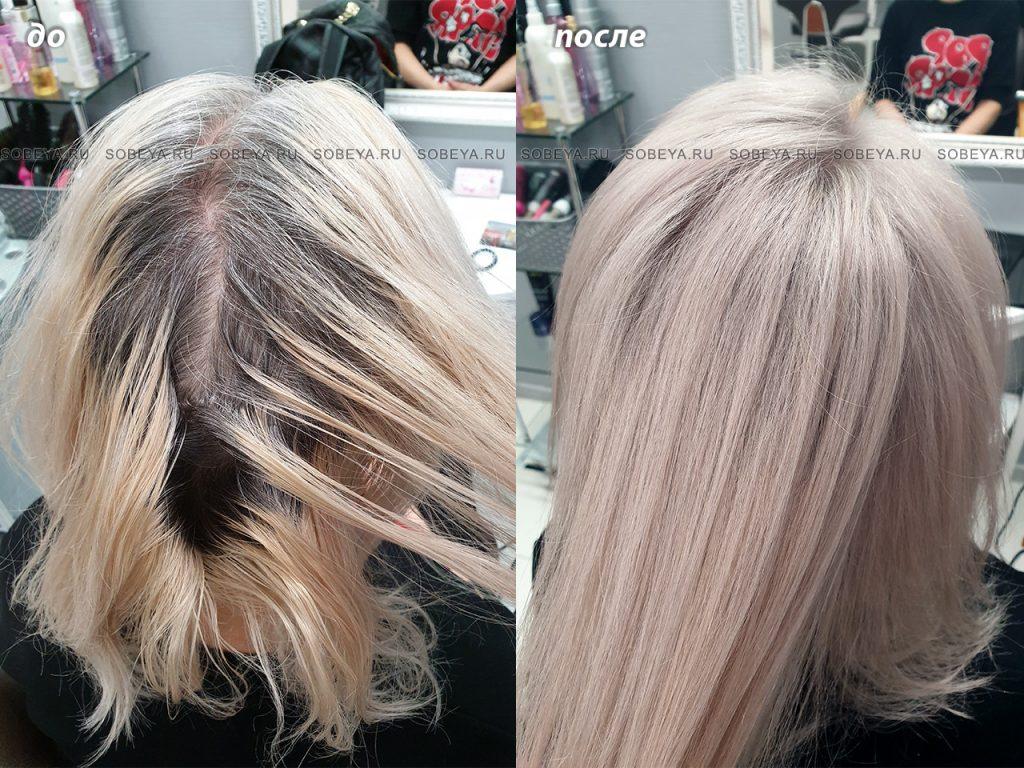 Подкрашивание корней осветление, тон на длину волос.