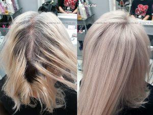 Подкрашивание корней, осветление волос.