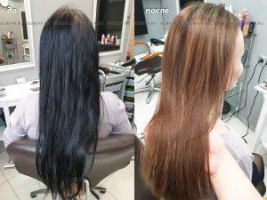 Выведение черного цвета волос