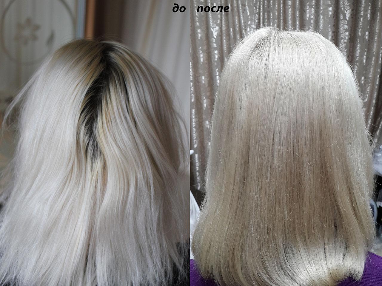 Окрашивание корней Исправление цвета светлый блонд
