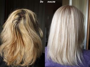 Окрашивание в очень светлый бежевый блондин.