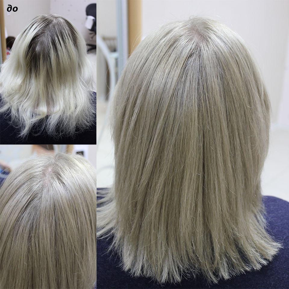 Окрасили длину под натуральный цвет волос корни не трогали