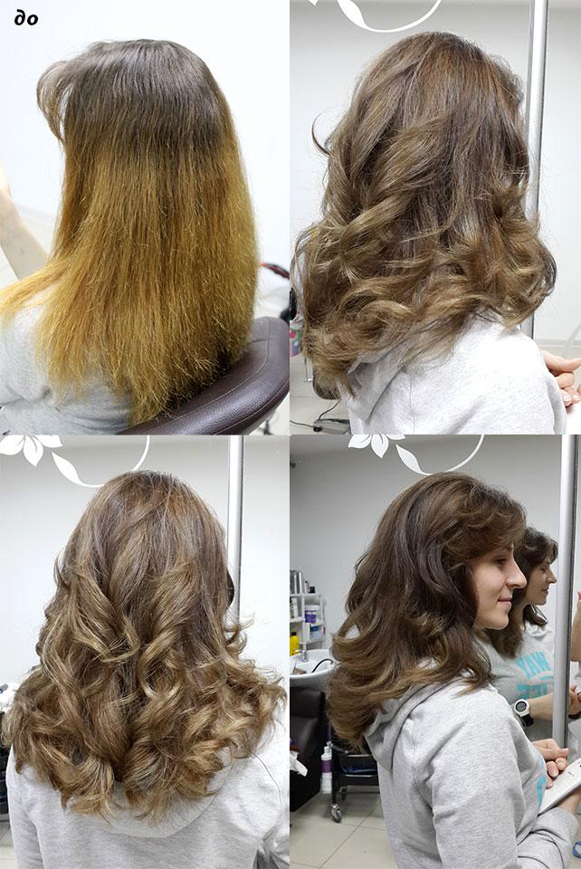 венецианское мелирование блики на длине волос натуральный оттенок крупные локоны