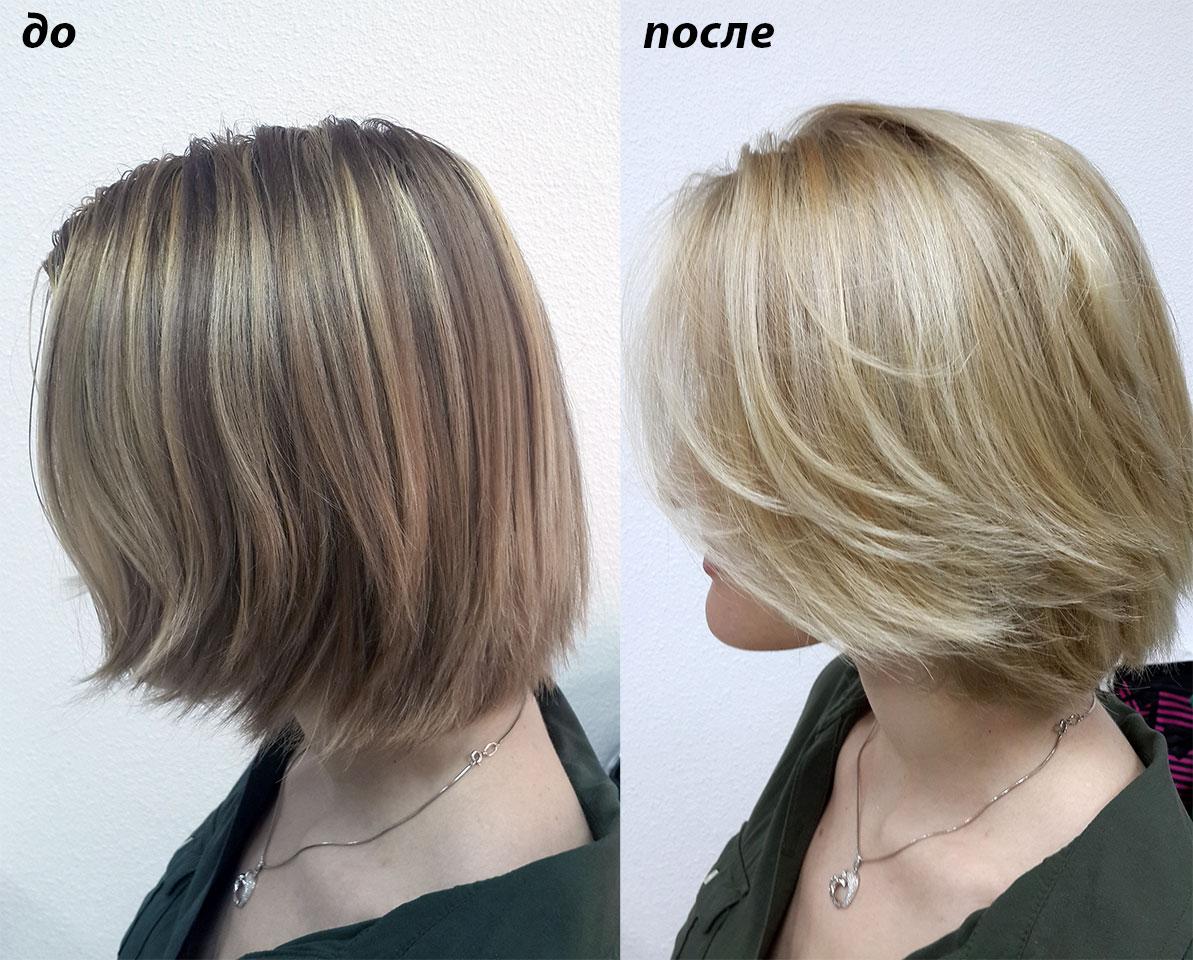 Окрашивание в очень светлый блонд волосы были ранее мелированы.